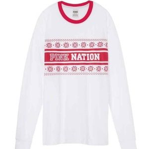 NWT VS PINK HOLIDAY CAMPUS TEE Size S,X-S